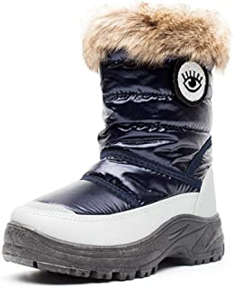 Weatherproof Boy's Girl's Snow Boots Cozy Non-Slip Outdoor Kids Warm Winter Shoes with Zipper