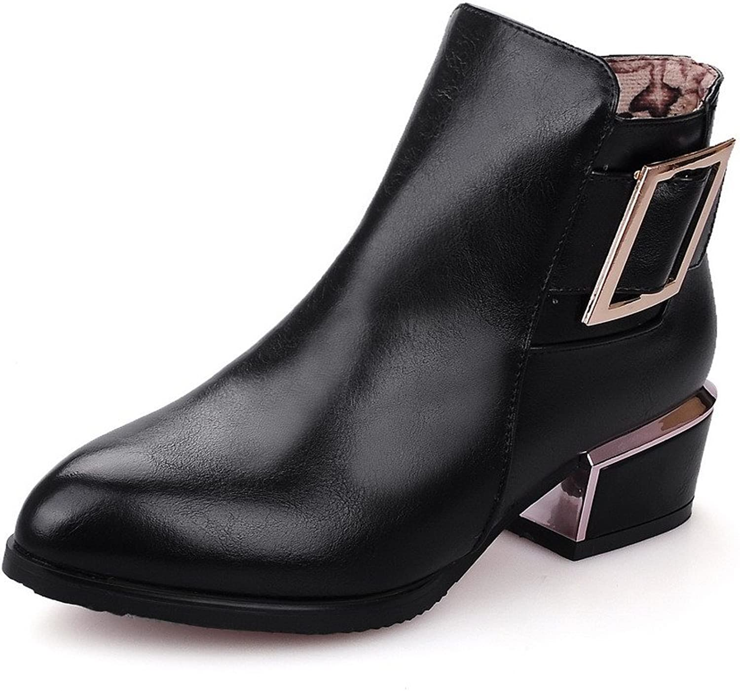 AllhqFashion Women's Ankle-high Solid Zipper Pointed Closed Toe Low-Heels Boots