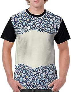 Women Print Tees,Evil Eye,Energetic Border Framework Design with All Seeing Eyes Good Luck Symbol,Blue Pink Yellow S-XXL Custom T-Shirt Fashion Style