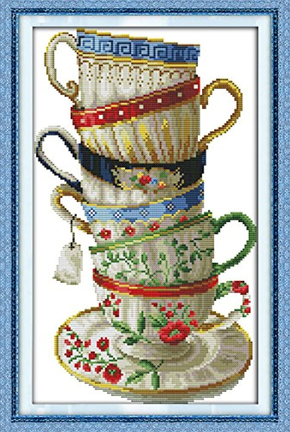 Joy Sunday? Cross Stitch Kit 14CT Stamped Embroidery Kits Precise Printed Needlework-Elegant coffee cup 27×44CM