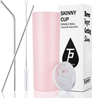 Toopify Stainless Steel Skinny Tumblers Vacuum Insulated Double Walled Tumbler with Straws Lid 20 oz for Coffee, Tea, Beverages,Pink