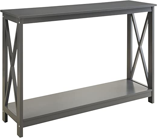 B01MZGB7UO✅Grey Finish 3-Tier X-Design Occasional Console Sofa Table Bookshelf