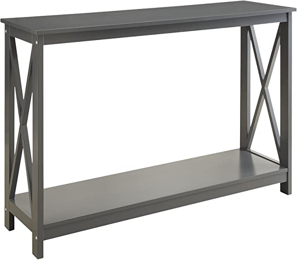 Grey Finish 3 Tier X Design Occasional Console Sofa Table Bookshelf