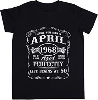 Born In April 1968 - Legends were Born In April 1968 Unisexo Niño Niña Camiseta Negro Todos Los Tamaños - Unisex Kids Boys...