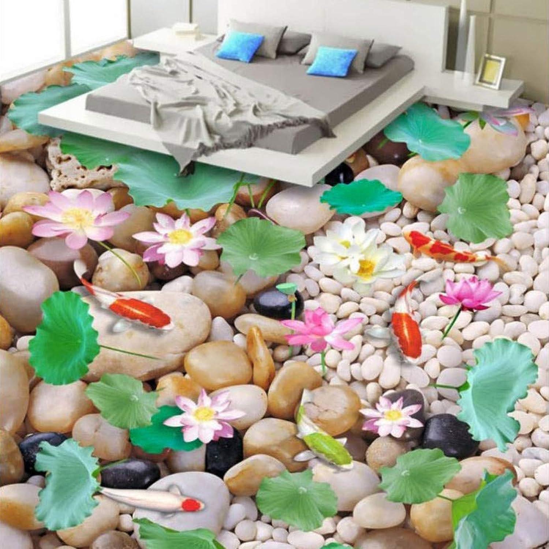 hasta un 50% de descuento Zxdxd Piso personalizado Mural Wallpaper Wallpaper Wallpaper Cocina impermeable Sala de estar Bao Pegatina para el suelo Impresión de papel tapiz Lotus Fish-200X140CM  salida para la venta