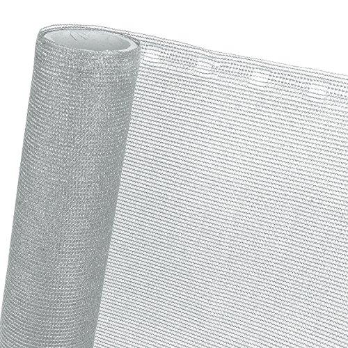 HaGa® Panel de valla (venta por metro) – Red de 1,5 m de ancho con 85% de efecto de sombra en gris plateado – para invernadero o balcón