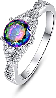 925 Sterling Silver Women Simulated Mystic Topaz Ring Infinity Knot Band