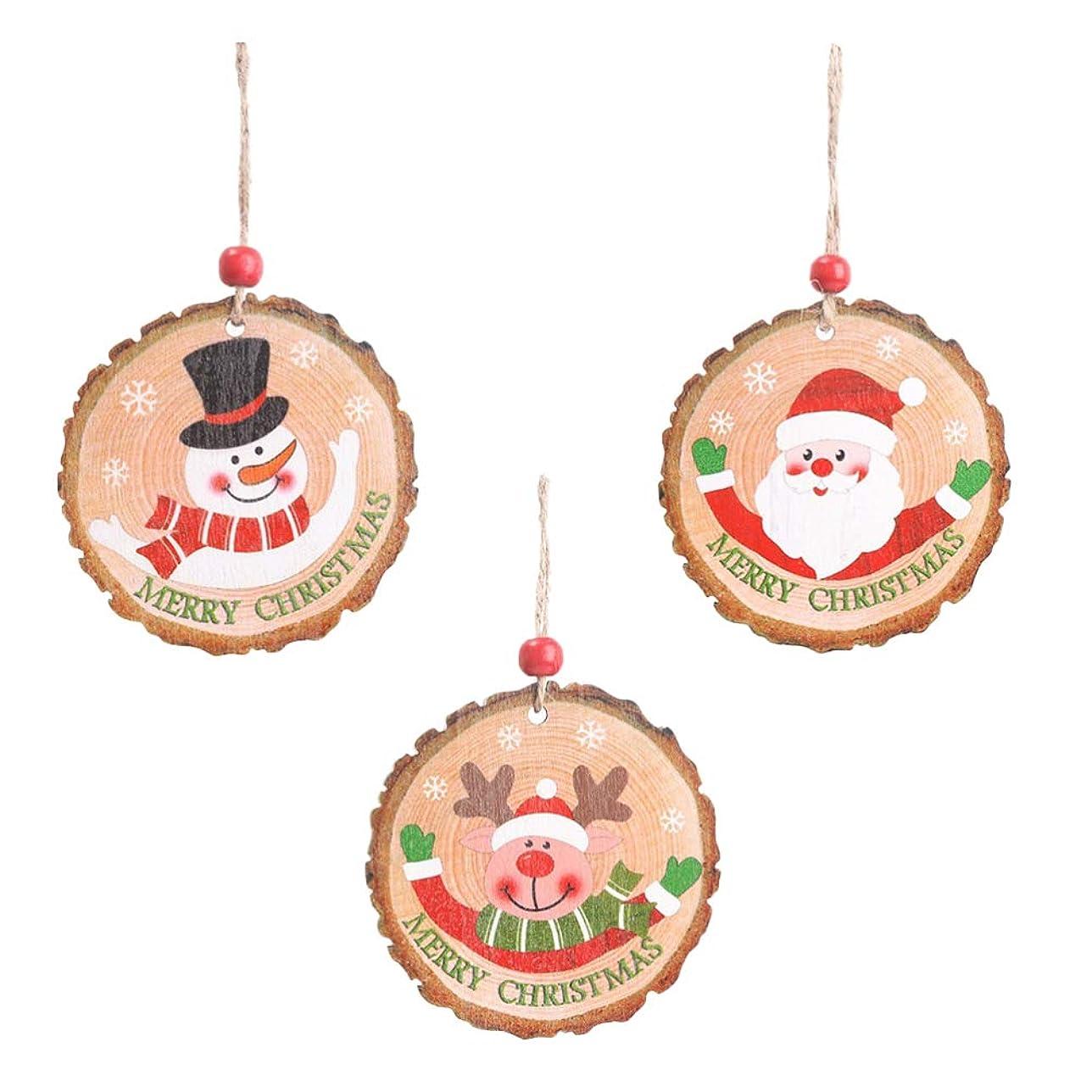 フリンジアマゾンジャングル骨髄LEDMOMO クリスマス 木製 飾り クリスマスツリー オーナメント サンタ+雪だるま+トナカイ 2pcs