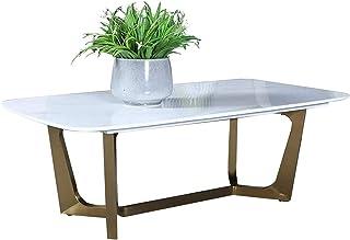 RSBCSHI Table Basse de café de marbre Naturel Naturel Moderne, Table Basse rectangulaire créative en Fer forgé, adapté au ...