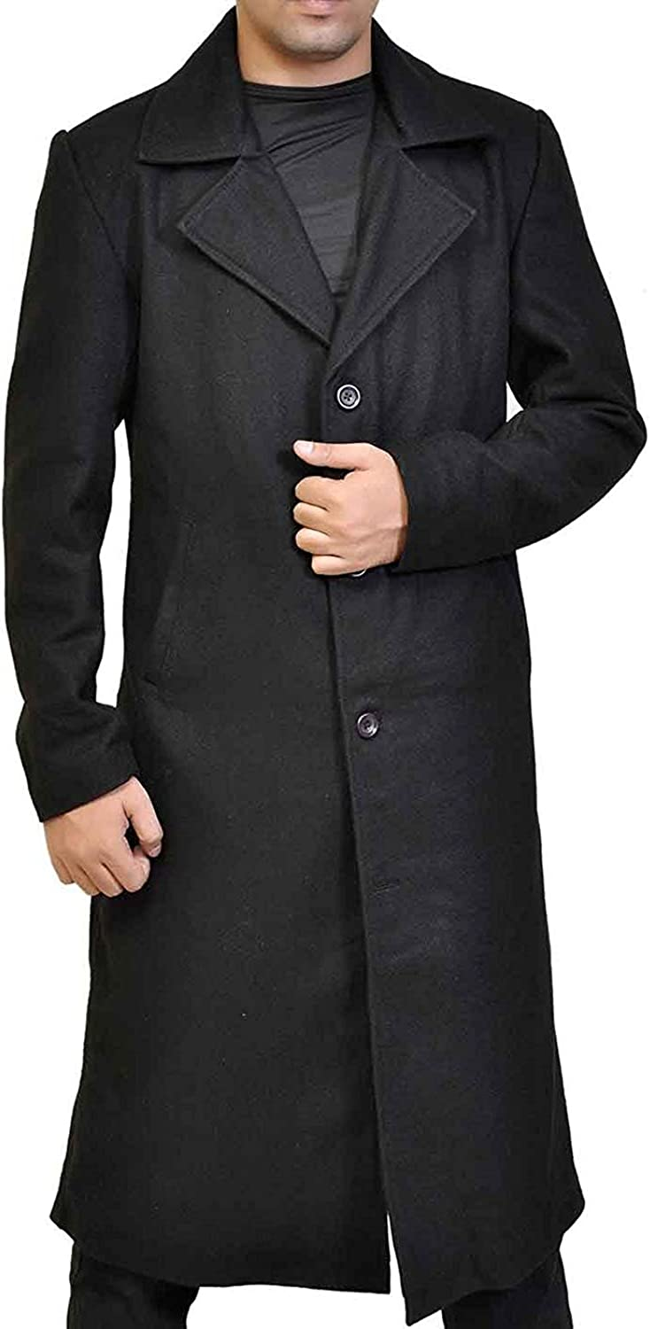 Men's Wool Trench Coat - Winter Single/Double Breasted Slim Fit Overcoat