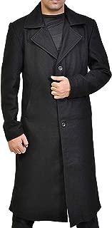Mens Raylan Justified Lapel Collar Long Length Black Coat