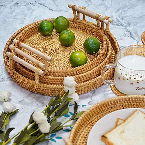 KULIXI Bandeja Redonda de ratán Tejido a Mano con Plato de Platos de Almacenamiento de Alimentos de Pan de mango-01_S