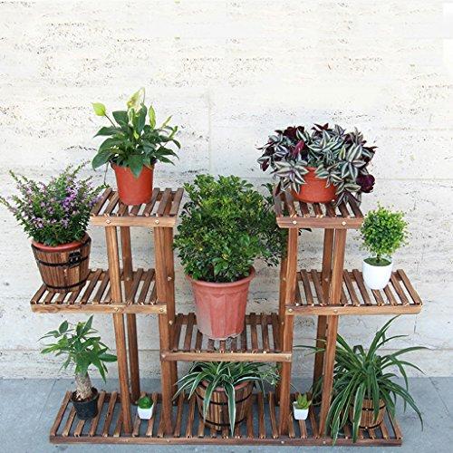 Cadre de fleurs en bois massif Ensemble de balcons Balcons Multi - Carastiques Bonsai Racks Racks multi - étages Multi - usage pliable L * W * H: 120 * 30 * 80cm (Couleur : Carbon baking color)