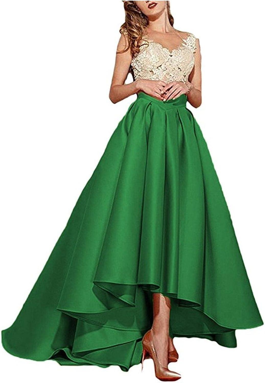 Beilite Women's V Neck Lace Appliques Prom Dresses HiLo Satin Evening Gowns