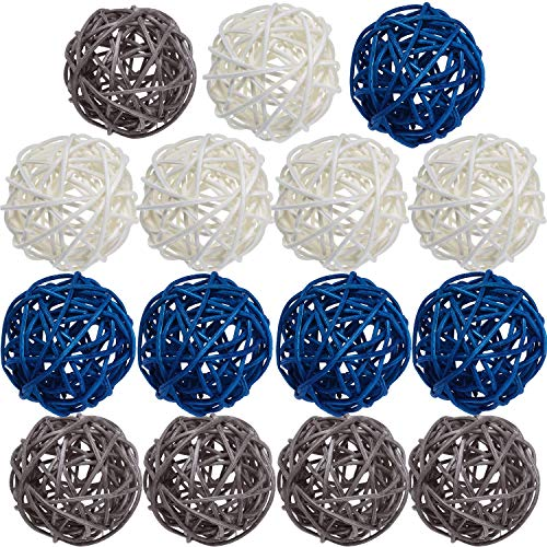 Yaomiao 15 Pieces Wicker Rattan Balls Decorative Orbs Vase Fillers for Craft, Party, Wedding Table Decoration, Baby Shower, Aromatherapy Accessories, 1.8 Inch (Blue Gray White)