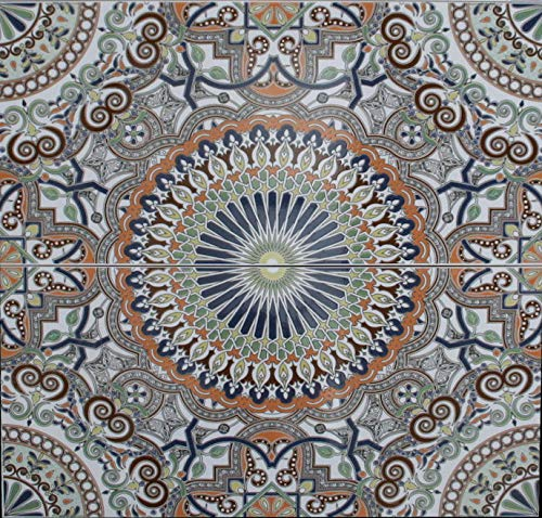 2 Keramikfliesen Asilah 50x25x0,9cm - Wand Motiv Mosaikfliesen- Spritzschutz Herd