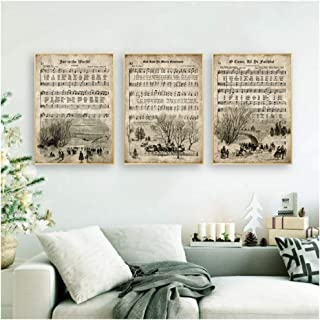 HYFBH Vintage Christmas Carols Posters and Prints Sheet Music Hymn Aged Antique Art Canvas Painting Picture Home Wall Art Decor-50x70cm No Frame