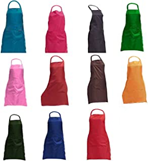 """TRENDBOX Total 11 PCS Plain Color Bib Apron Adult Women Unisex for Waist Size 23"""" to 35"""" Durable Comfortable with Front Pocket Washable for Cooking Baking Kitchen Restaurant Crafting"""
