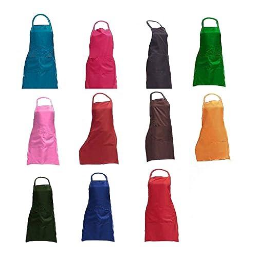8be0db5b04 TRENDBOX Total 11 PCS Plain Color Bib Apron Adult Women Unisex for Waist  Size 23