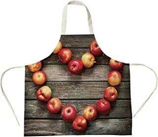 3D Printed Cotton Linen Big Pocket Apron,Modern,Rustic Style Home Cafe Decor Wooden Kitchen Surface Fresh Apples Image Art Veggies Fruit Decorative,Brown Red,for Cooking Baking Gardening