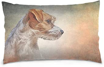 Mydaily Jack Russell Terrier Dog Throw Pillow Case Cotton Velvet Rectangular Cushion Cover 20x30 inch