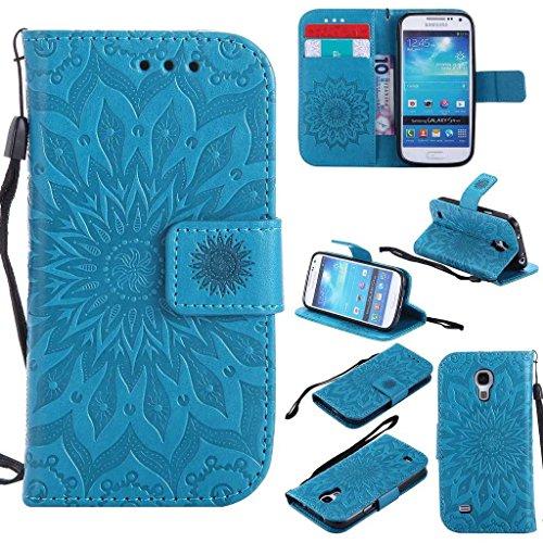 KKEIKO Hülle für Galaxy S4 Mini, PU Leder Brieftasche Schutzhülle Klapphülle, Sun Blumen Design Stoßfest HandyHülle für Samsung Galaxy S4 Mini - Blau