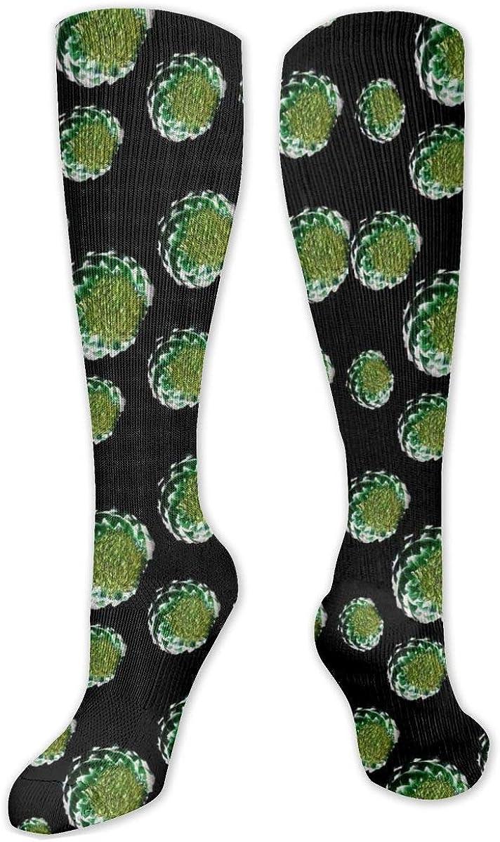 Green Flower Cotton Knee High Socks Leg Warmer Dresses Long Boot Stockings For Womens Cosplay Daily Wear