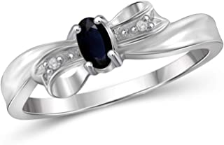 Jewelexcess 0.30 Carat T.G.W. Sapphire and White Diamond Accent Sterling Silver Bow Ring