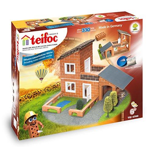 Eitech TEI 4700 Teifoc Steinbaukästen 4700-Villa, Mehrfarbig, Villa mit Garage