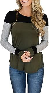 Womens Long Sleeve Tops Crew Neck Color Block Tunics Casual Elegant Blouse Henley Shirts
