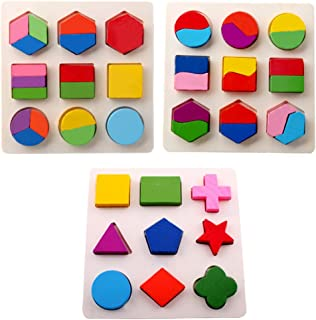 TRADERPLUS Kids Toddler Wooden Puzzle Educational Toys Shapes Sorter Preschool Geometric Blocks Stacking Games