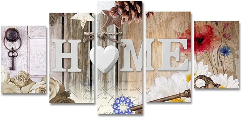 5 Panels Canvas Painting OFFicial Print Heart of Love Abstract F Max 45% OFF Home Art