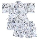 花火柄 男の子 甚平スーツ 日本製生地 綿100% キッズ トドラー ベビー (100cm, 白)