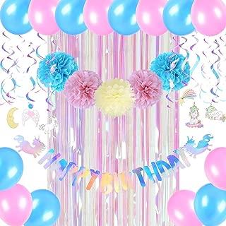 Unicorn Birthday Party Supplies, Unicorn Happy Birthday Banner, Unicorn Foil Hanging Swirls, Tissue Paper Fans Pom Poms, Rainbow Foil Curtain, Pink Blue Latex Balloons, Easy Joy
