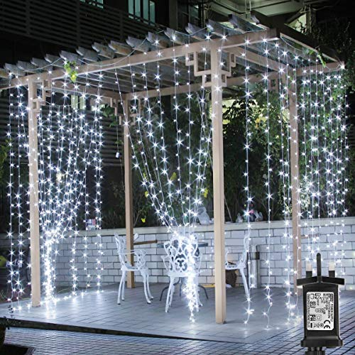 LE Outdoor Gazebo Lights Mains Powered, 3m x 3m Cool White Curtain Lights, 8 Modes Plug in Fairy String Lights for Wedding Backdrop, Party, Garden, Pergola, Girl's Bedroom and More