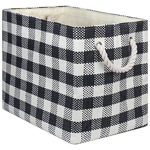 DII Übergroßer Aufbewahrungskorb aus gewebtem Papier, faltbar und praktisch, für Büro, Schlafzimmer, Schrank, Spielzeug und Wäsche, mittelgroß – 38,1 x 25,4 x 30,5 cm, schwarz kariert