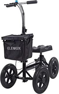 ELENKER Knee Walker Economy Steerable Knee Scooter Ultra Compact & Portable Crutch Alternative with 12