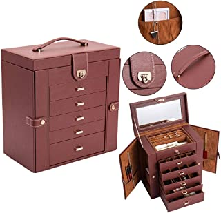 Binlin Jewelry Box Organizer unctional Huge Lockable Leather Jewelry Storage Case for Women Girls Ring Necklace Earring Bracelet Holder Organizer with Mirror (Brown)