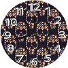 シュガースカルヘッドフラワーブラック,北欧 おしゃれ 円形掛け時計, 連続秒針掛け時計 静音 部屋装飾壁時計, インテリア 置き時計, 時計 壁掛け寝室 店舗 家 部屋装飾 簡単 贈り物 アラビア数字壁掛け時計 10in