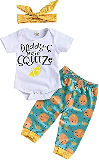3Pcs Daddys Main Squeeze Newborn Outfit Baby Girl Set s Short Sleeve Romper Toddler Shirt Clothes