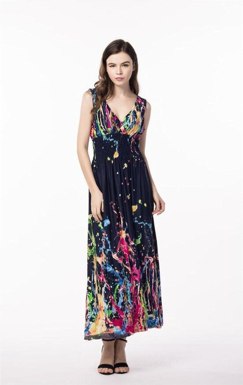 MBD Beach Dress Mediterranean Style Large Size Dress Holiday Beach Dress Printing Dress (color   C, Size   XXL)