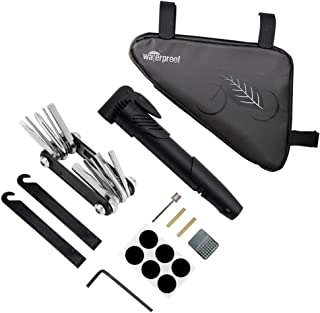WOTOW Bike Tyre Repair Kit, Waterproof Frame Triangle Bag & Mini Bike Pump & 11 in 1 Multi-Function Bicycle Tyre Lever & Self Adhesive Tube Patch Portable Repair Cycling Tool Set for Road Mountain BMX