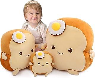 DENTRUN Fried Egg Toast Bread Stuffed Pillow, Big Hugging Chubby Sleep Bread Stuffed Plush Toy, Fluffy Soft Toast Bread So...