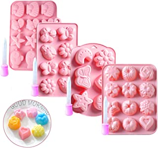 4 Pack Silicone Cake Bakeware Molds, TANOKY Non-stick Candy and Chocolate Molds Baking for DIY Chocolate Candy Jelly Ice C...