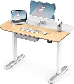 Fenge 電動式スタンディングデスク 昇降デスク 引き出し付きテーブル ワークデスク パソコンデスク 幅110cm 無段階昇降 高さ調節 組み合わせる天板EDF4306WO