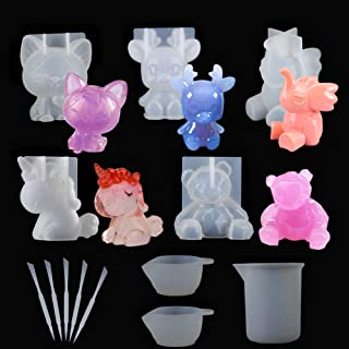Suhome 5 PCS 3D Animal Resin Molds Large Resin Casting Molds Unicorn, Bear, Cat, Elephant, Elk Silicone Resin Molds for Ha...