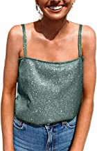 Women's Sexy Strappy Sleeveless Crop Top Bling Camisole Strappy Tank Tops Shirts
