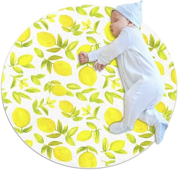 水彩柠檬小毛软圆形地毯户外圆形地毯男孩和女孩城堡儿童卧室婴儿房儿童最佳礼物 3英尺 4英寸