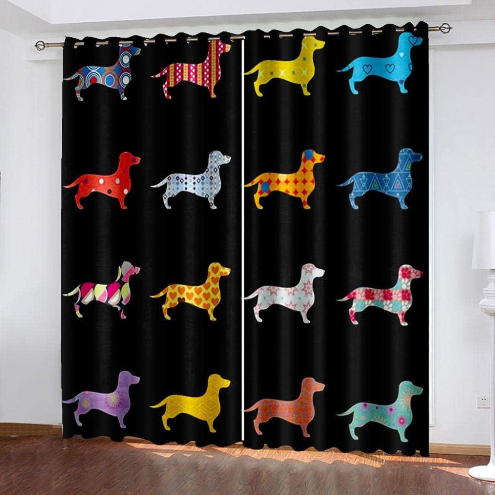 5% OFF FFFSSS 3D Eyelet Curtain Color Polyeste Blackout Dog Miami Mall Curtains