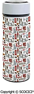 SCOCICI Vacuum Insulated Stainless Steel Water Bottle Flask Fun Colorful Sketch Royal Guard Map Rain Famous Country Landmarks and Stonehenge